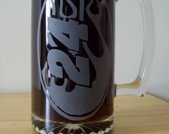 jeff gordon etched beer mug