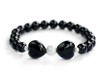 Bow Hearts Black Agate Stardust Bead Bracelet / 8 mm Black Gemstone Stretch Bracelet / Women's Stacking Beaded Bracelet