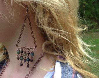 Rare Jasper and Tigers Eye Chandelier Earrings in Antique Copper