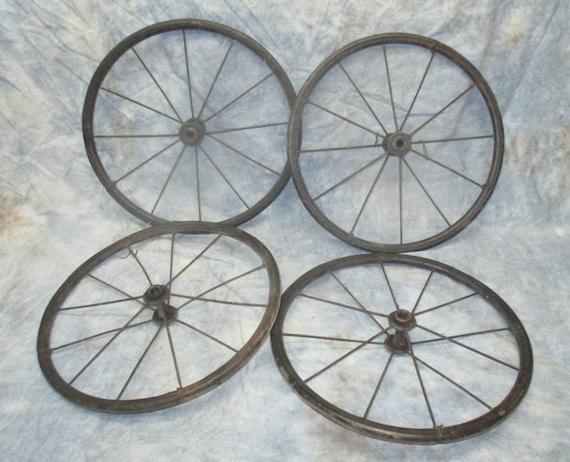 4 Vintage Baby Buggy Wheels Metal Rim Pedal Car By