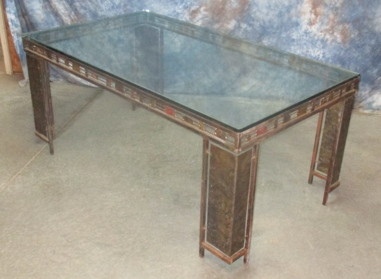 38 x 68 glass top table dining room kitchen mid century danish