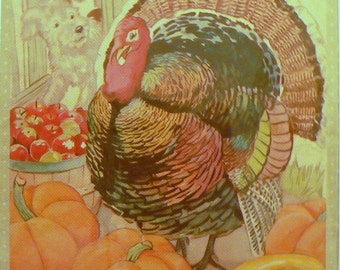1943 Thanksgiving Turkey Matted Vintage Print