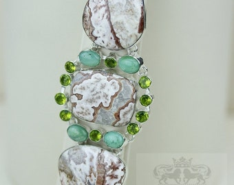 Top pattern Mexican CRAZY LACE Agate CHRYSOPRASE 925 Solid Sterling Silver Bracelet B1440