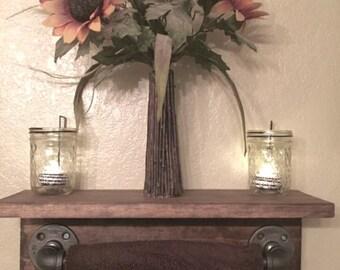 Industrial rustic towel bar shelf