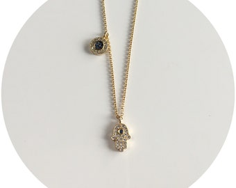 Two Tone Hemsa Necklace
