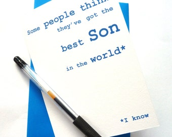 Funny Birthday Card - Best Son in the World, Happy Birthday Son Card, Free UK Postage, Birthday Card for Men