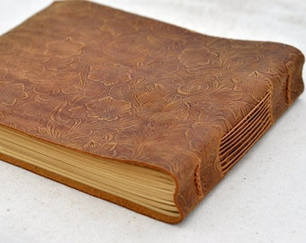 Flower Leather guest book,leather journal, blank paper wedding guest book