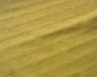 Light yellow gold latin script jacquard fabric by the metre upholstery home decor