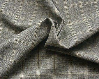 Grey plaid check wool suiting fabric by the metre