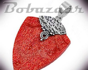 ON SALE Sterling Silver Red Coral Bali Pendant
