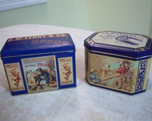 Vintage J & P Coats thread tin/Vintage DM Ferry and Co. seed tin/Gardening tin theme/Sewing tin theme