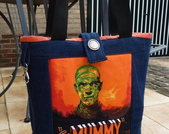 Blue denim monsters movie Tote Bag, The Curse of the Werewolf tote bag, Jeans horror bag The Mummy. Blue jeans horror Movies bag.