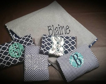 Baby Blanket and 4 burp cloths personalized