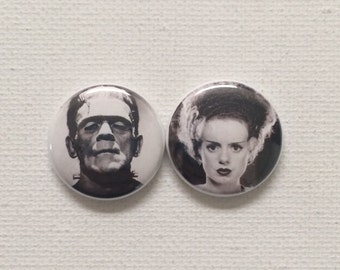 1 inch Frankenstein Monster Bride flat back buttons horror