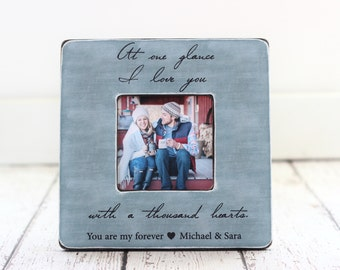 Wedding Anniversary Engagement GIFT Quote Frame 'At One Glance I Love You' Personalized Picture Frame