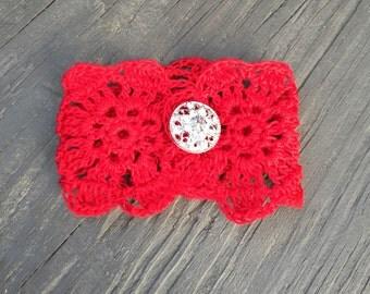 Red Crochet Cuff Bracelet