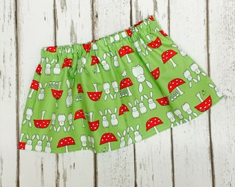 Bunnie & Red Toad Stool Lime Skirt - 12 Months