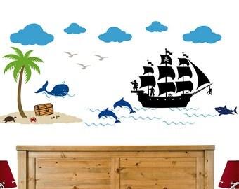 Pirate Ship Nautical Decor, Pirate Ship Decal, Pirate Scene, Pirate Decor, Nautical Decor, Pirate Theme, Pirate Party