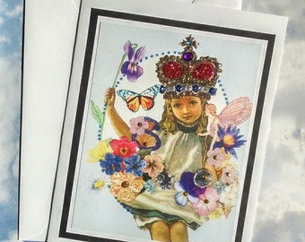 Flower Queen with Fairy Friend- Fancy Embellished Greeting Card Fairies Crown Flowers