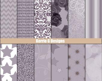 Lilac Printable Cardstock digital Paper Packs scrapbooking paper, Downloadable patterned paper background, Muted purple scrapbook supplies