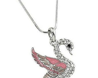 High Quality Crystal White Gold Plating Pink Swan Necklace, Swan Jewelry, Swan Necklace w Gift Box