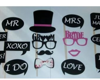 16pc Photo Booth Props / Bride and Groom / Weddings / Marriage / Love / Congrats! / XOXO / Mr and Mrs (2010D)