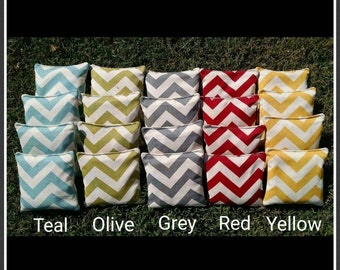 Chevron Cornhole Bags (full set 8 bags) filled with clean whole corn - 12 month Guarantee!