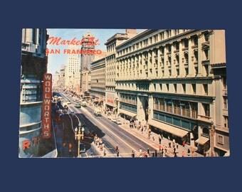Market Street San Francisco Postcard, Mid Century 1950s, Ephemera