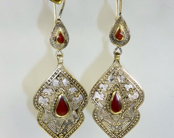 Kazakhi Earrings with Red Jewels
