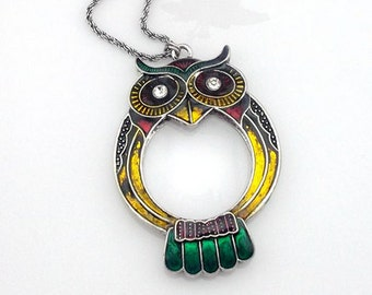 1pc 55mm green owl Magnifying Glass Necklace Pendant no.57