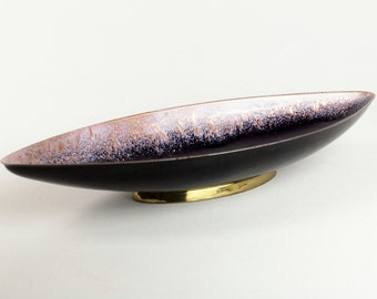 Tall PERLI vintage copper enamel bowl purple pink blue, Mid Century, 50s-60s