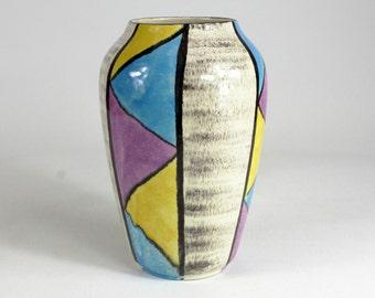 BAY vintage ceramic vase blue yellow pink, West German Pottery, 50s - Modernism