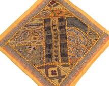Throw Pillow Sofa - Yellow Sari Patchwork Dabka Wood Bead Work Vintage Style Cushion Cover 16 Inch x 16 Inch - NH16153