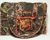 Mossy Oak camo diaper bag / Large camo rag bag,  orange camo diaper bag, personalized camo diaper bag