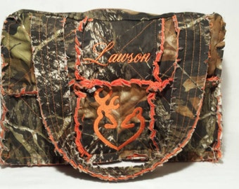 Mossy Oak orange camo diaper bag 15 wide x 10 tall x 5 deep,  orange camo diaper bag, personalized camo diaper bag, camo diaper bag