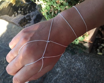 Asymmetrical Hekate handlet, Super fine sterling silver edgy hand chain