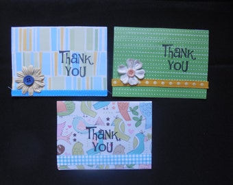 Thank You Cards- Set of Thank Yous- Thank You Card Set- Handmade Thank You Cards- Thank You Card Pack- Embellished Thank You Cards