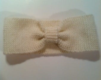 Knit bow headband/earwarmer - Adults
