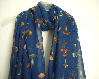 Navy Blue Mushroom Scarf, Mushroom scarf, Spring Scarf, Summer Scarf, Autumn Scarf, Gift For Her