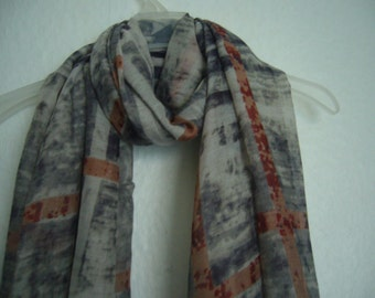 Tie Dyed Scarf, Grey Tie Dyed Plaid Scarf, Tie Dyed Scarf, Autumn Scarf, Spring - Summer Scarf, Accessories