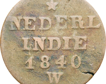 Netherlands East Indies 1840 2 Cents, Double Duit Willem I Coin Sumatra