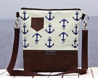 shoulder bag -big anchors navy blue on creme-
