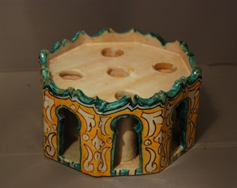 Antique illuminator or Inkwell in Fez ceramics from Morocco, mid 20th Century, pretty yellow and turqoise