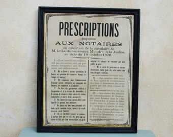 Antique framed poster from a notary's office, 1876. French solicitor's office wall hanging. Decorative for your law office, study