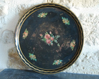 French vintage tole tray with hand painted gilt brush stokes and transferware for the flowers, some crackling, pretty worn effect.