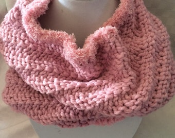 Hand Knit Cowl Infinity Pink