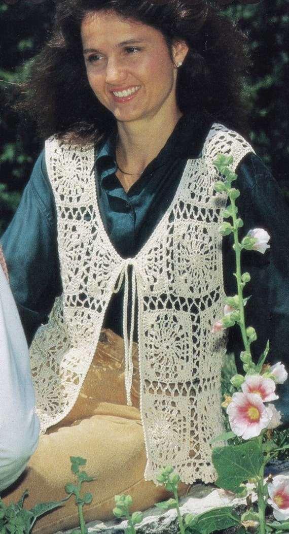Crochet Vest Patterns For Beginners : Crochet Boho Motif Vest Pattern, Lacy Vest PATTERN ...