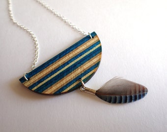 """Necklace surfboard skateboard recycled and Silver 925, blue and feather Blue Jay - """"Skyline"""""""