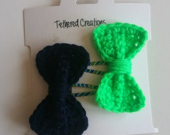 Set of 2 Hair Bows - Blue and Green