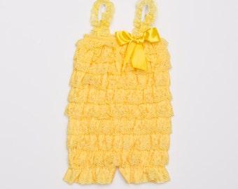 Yellow Petti Lace Romper, Lace baby romper, Baby girl romper
